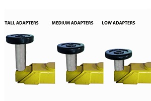 Adjustable lifting arms and stackable adapters